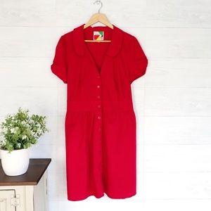 Modcloth Fervour Red Button Up Summer Mini Dress